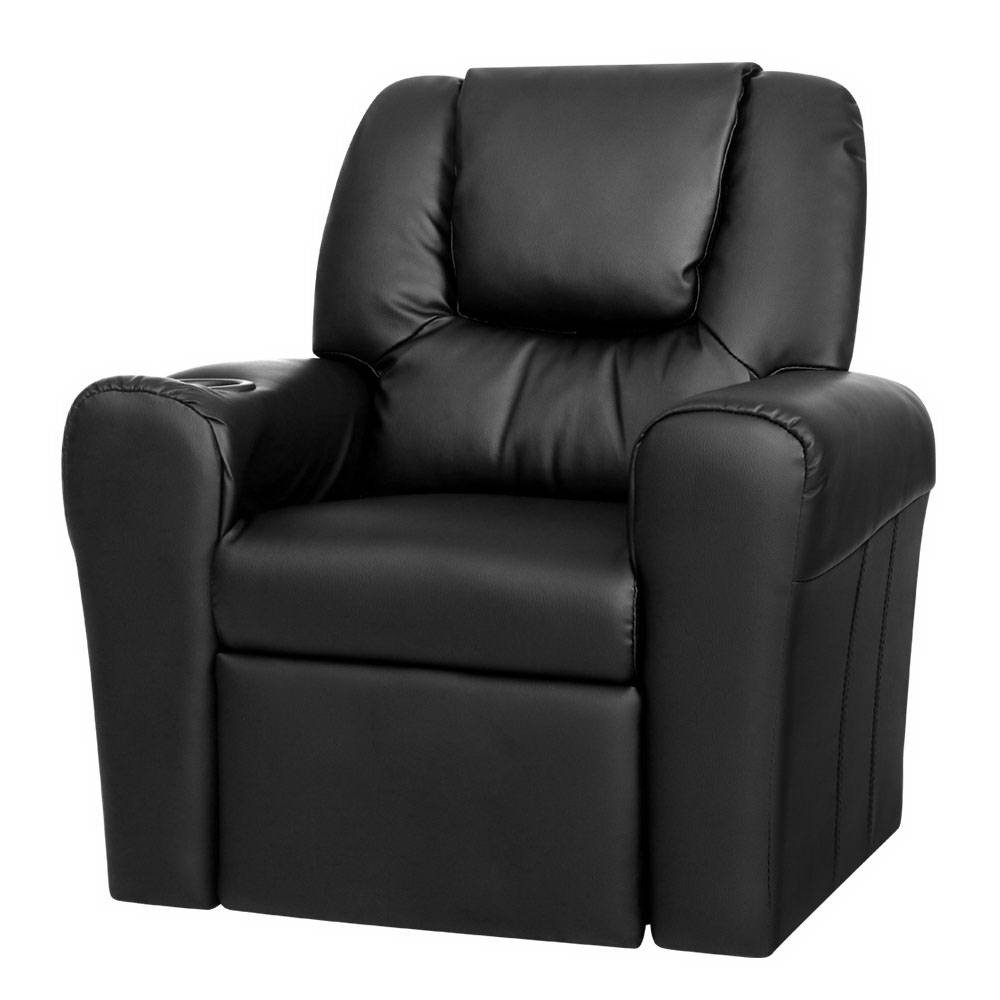 kid 39 s pu leather reclining arm chair black