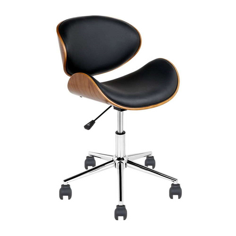 Wooden Amp Pu Leather Office Desk Chair Black