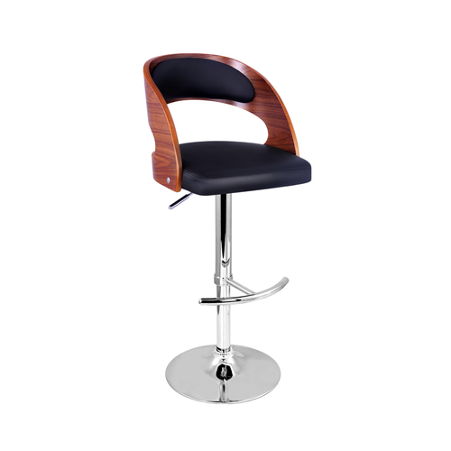PU Leather Wooden Kitchen Bar Stool Padded Seat Black