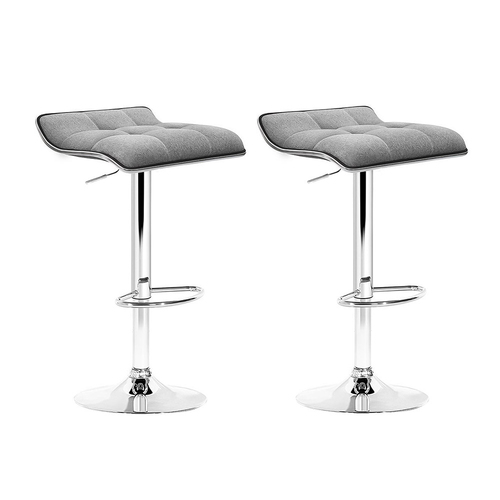 Set of 2 Fabric Bar Stools - Grey