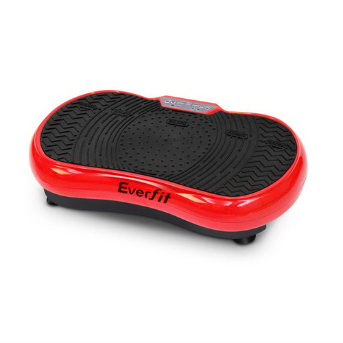 1000W Vibrating Plate Exercise Platform with Roller Wheels - Red
