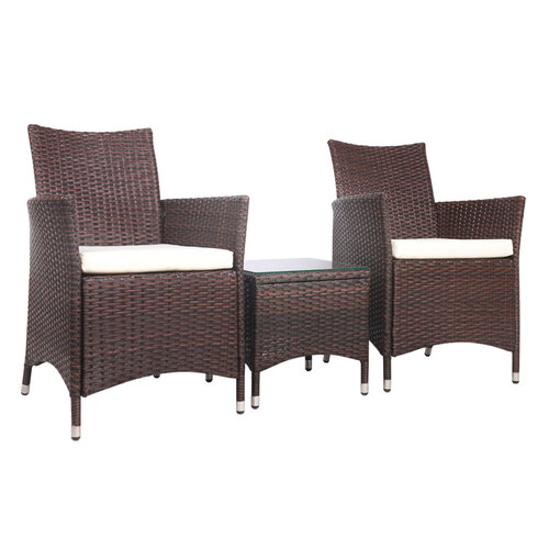 3-piece Outdoor Chair and Table Set Brown