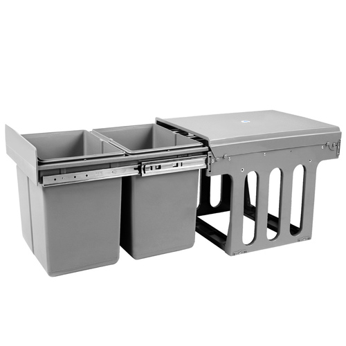 Dual Side Pull Out Rubbish Waste Basket 2 x 15L