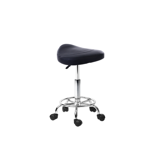 Saddle PU Swivel Salon Stool Black
