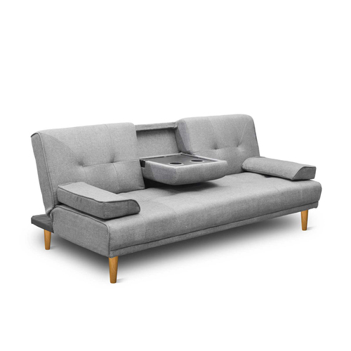 Modern Fabric 3 Seater Sofa Bed w/ Cup Holders