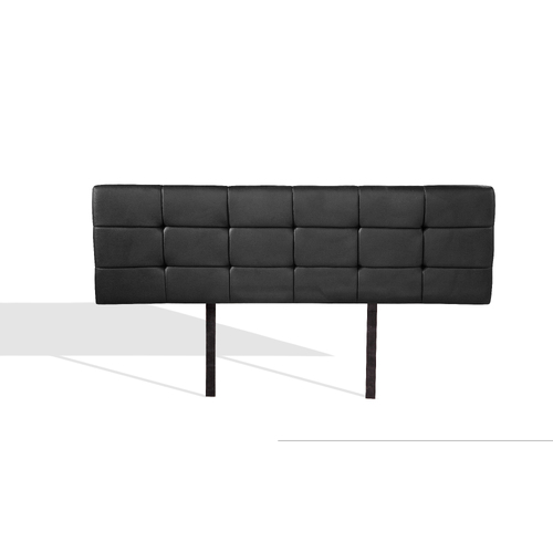 PU Leather Double Bed Deluxe Headboard Bedhead - Black