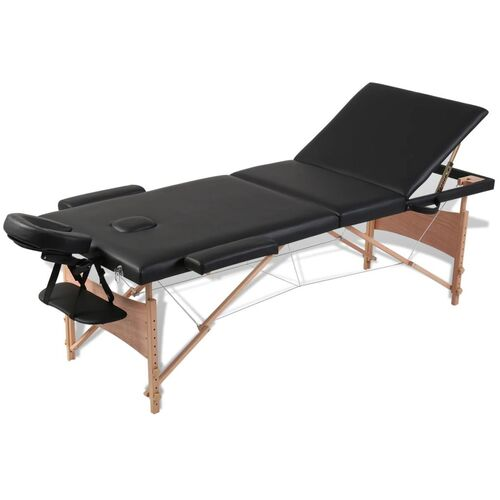 Black Foldable Massage Table 3 Zones with Wooden Frame