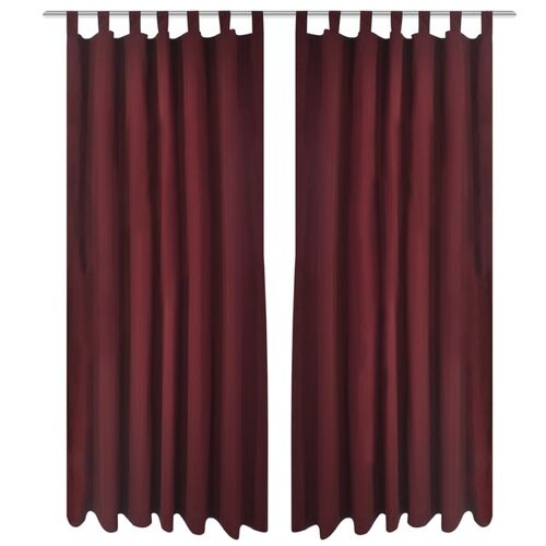 2 pcs Bordeaux Micro-Satin Curtains with Loops 140 x 225 cm