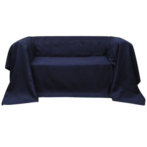 Micro-suede Couch Slipcover Navy Blue 270 x 350 cm