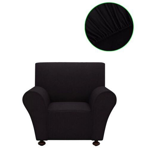 Stretch Couch Slipcover Black Polyester Jersey
