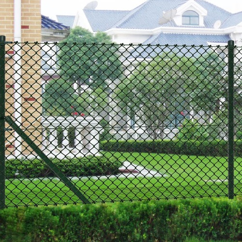 Chain Link Fence with Posts Galvanised Steel 1.5x25 m Green