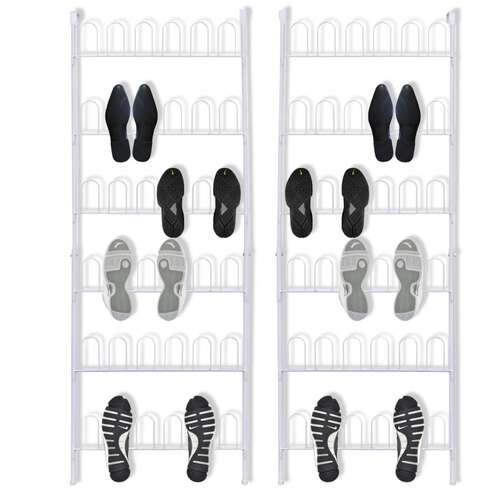18 Pairs Shoe Racks 2 pcs Steel White
