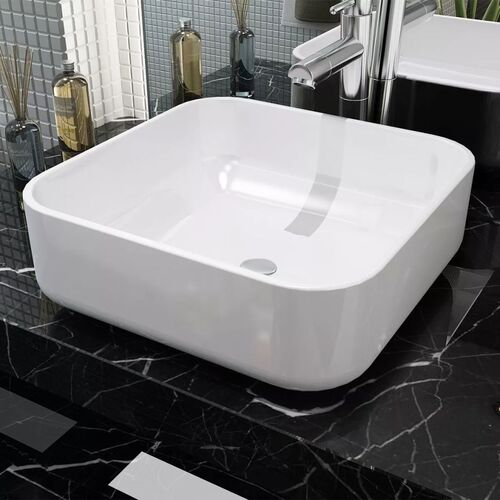 Basin Square Ceramic White 38x38x13.5 cm