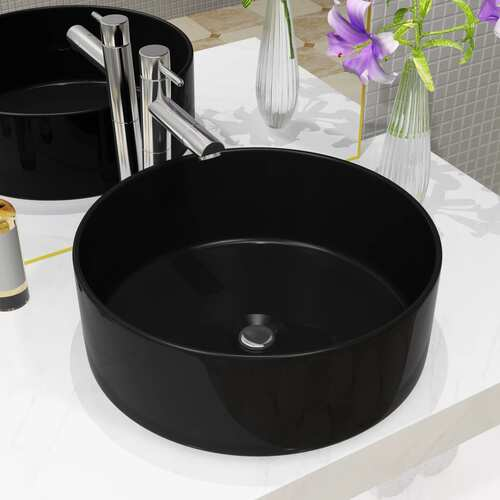 Basin Ceramic Round Black 40x15 cm