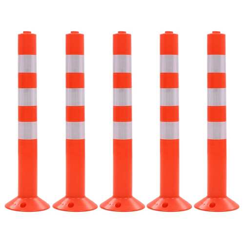 Traffic Control Bollards 5 pcs Plastic 75 cm