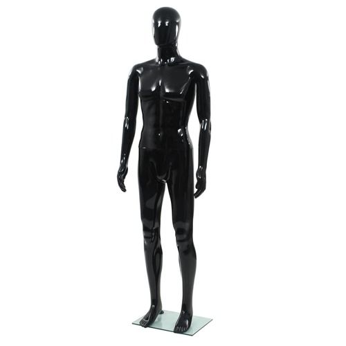 Full Body Male Mannequin with Glass Base Glossy Black 185 cm