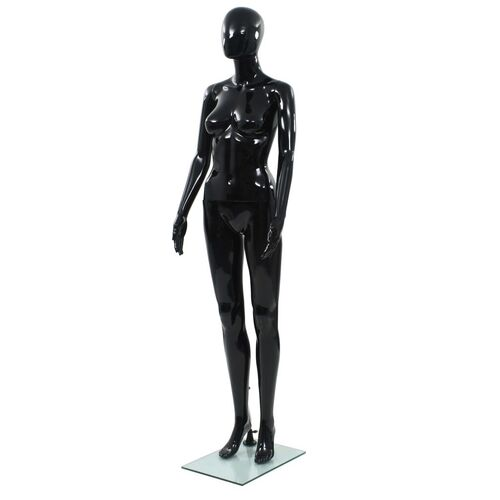 Full Body Female Mannequin with Glass Base Glossy Black 175 cm
