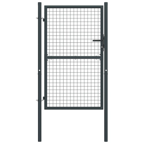 Mesh Garden Gate Galvanised Steel 100x200 cm Grey
