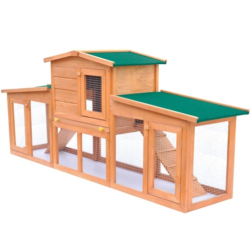 Large Rabbit Hutch Small Animal House Pet Cage with Roofs Wood