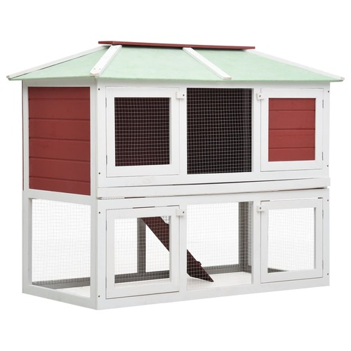 Animal Rabbit Cage Double Floor Red Wood