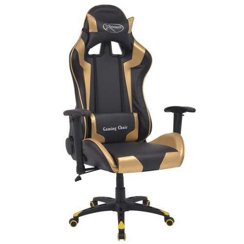 Reclining Office Racing Chair Artificial Leather Gold
