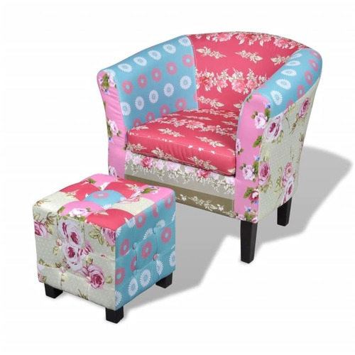 Armchair with Footstool Patchwork Design Fabric