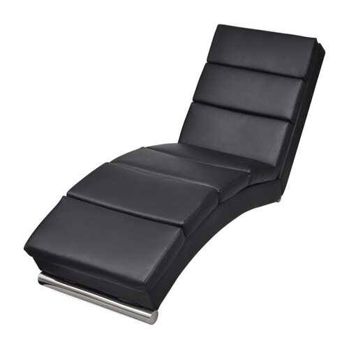 Chaise Longue Black Faux Leather
