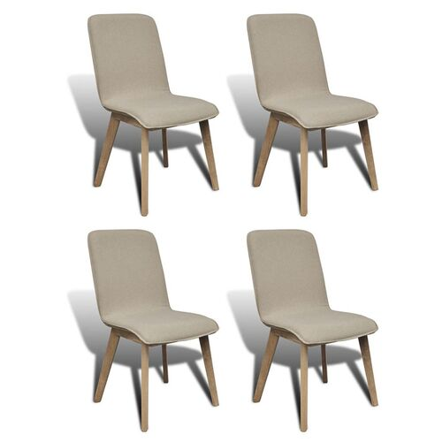 Dining Chairs 4 pcs Beige Fabric and Solid Oak Wood