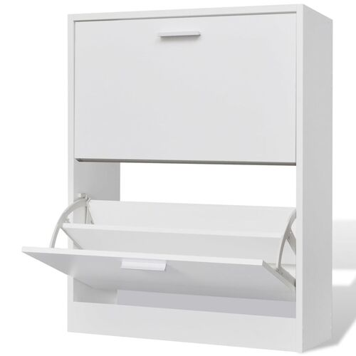 Shoe Cabinet with 2 Compartments Wooden White