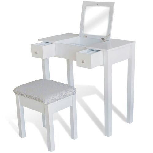 Dressing Table with Stool and 1 Flip-up Mirror White