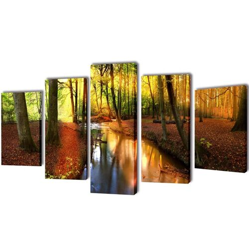 Canvas Wall Print Set Forest 200 x 100 cm
