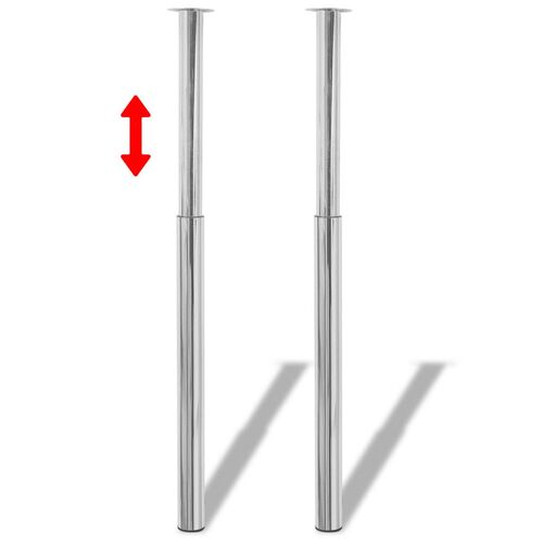 Telescopic Table Legs 2 pcs Chrome 710 mm-1100 mm