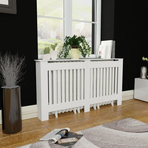 White MDF Radiator Cover Heating Cabinet 152 cm