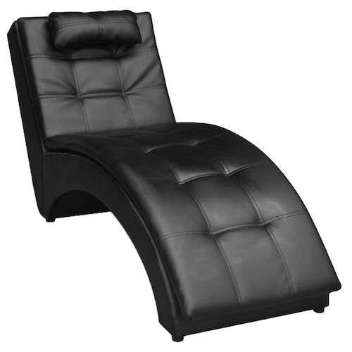 Chaise Longue with Pillow Black Faux Leather
