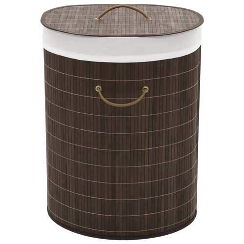 Bamboo Laundry Bin Oval Dark Brown