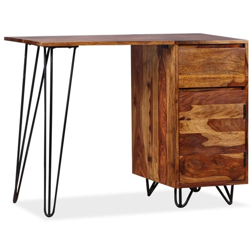 Writing Desk with 1 Drawer and 1 Cabinet Solid Sheesham Wood
