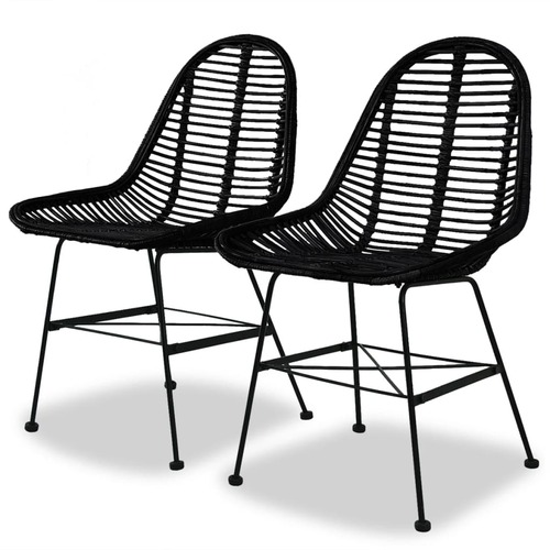 Dining Chairs 2 pcs Black Natural Rattan