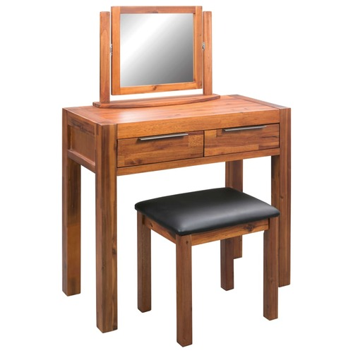 Dressing Table with Stool and Mirror Solid Acacia Wood