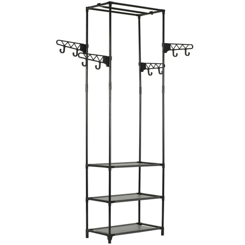 Clothes Rack Steel and Non-woven Fabric 55x28.5x175 cm Black