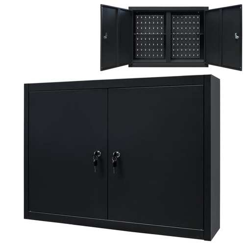 Wall Mounted Tool Cabinet Industrial Metal 80x19x60 cm Black