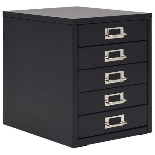 Filing Cabinet with 5 Drawers Metal 28x35x35 cm Black