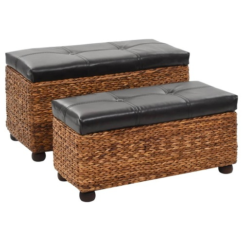 Bench Set 2 Pieces Seagrass Brown
