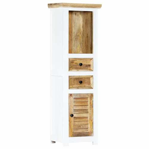 Highboard White and Brown 40x30x128 cm Solid Rough Mango Wood
