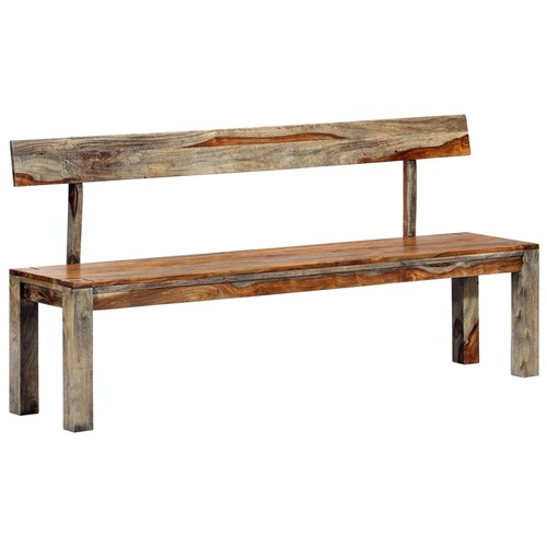 Bench 160 cm Grey Solid Sheesham Wood