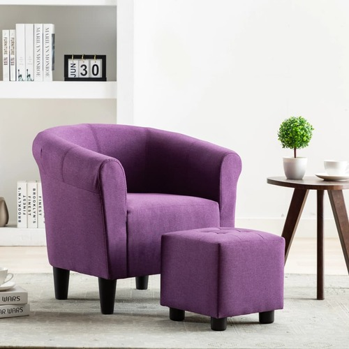 2 Piece Armchair and Stool Set Purple Fabric