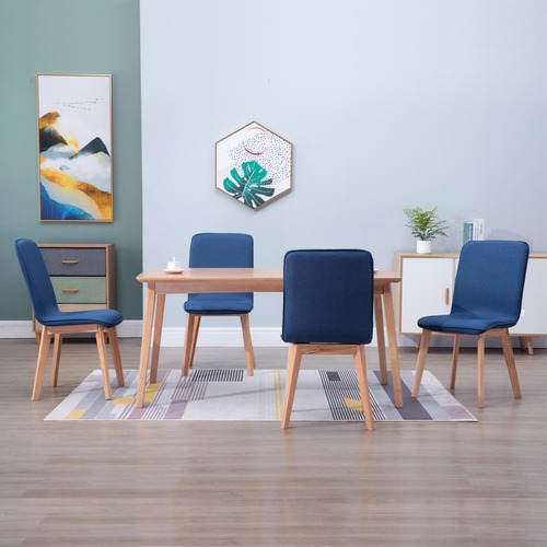 Dining Chairs 4 pcs Blue Fabric