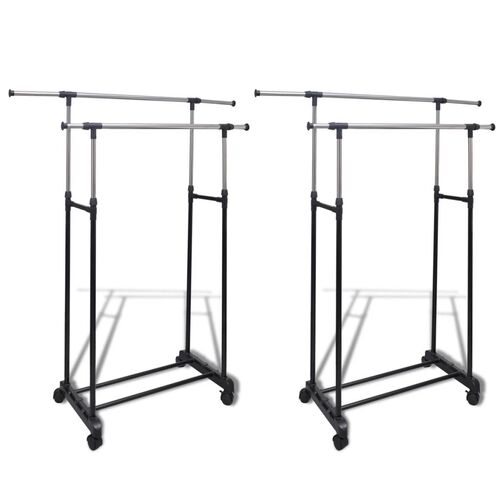 Adjustable Clothes Rack with 2 Hanging Rails 2 pcs