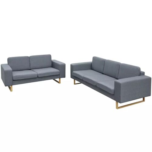 2-Seater and 3-Seater Sofa Set Light Grey