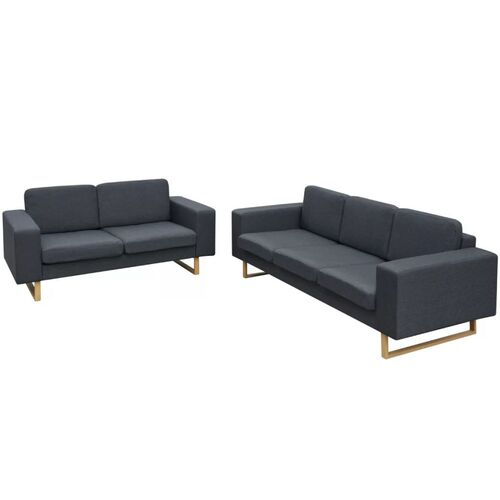 2-Seater and 3-Seater Sofa Set Dark Grey