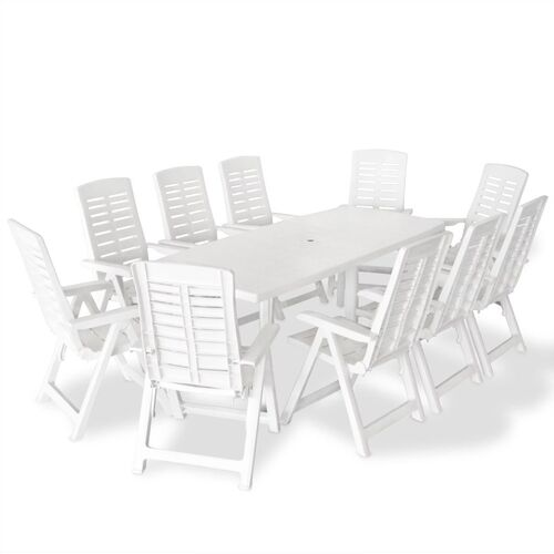 11 Piece Outdoor Dining Set Plastic White